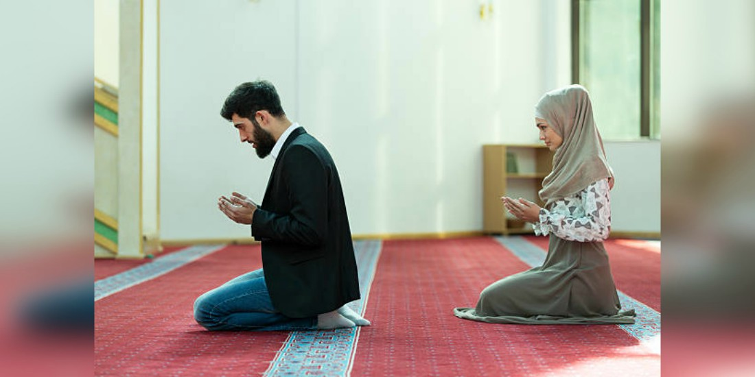 Image result for muslim husband and wife praying together