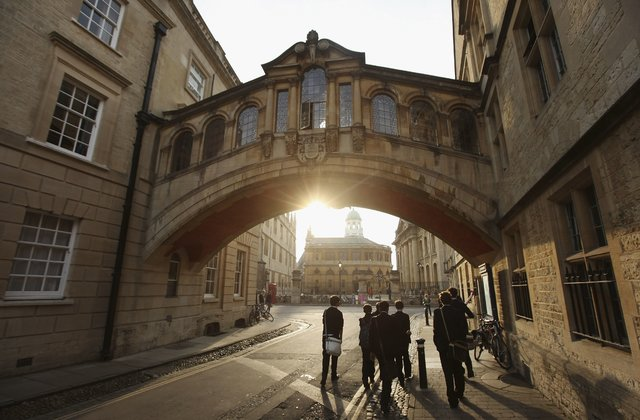 OXFORD, ENGLAND - MARCH 22: Students walk under the Bridge of Sighs along New College Lane on March 22, 2012 in Oxford, England. (Photo by Oli Scarff/Getty Images)