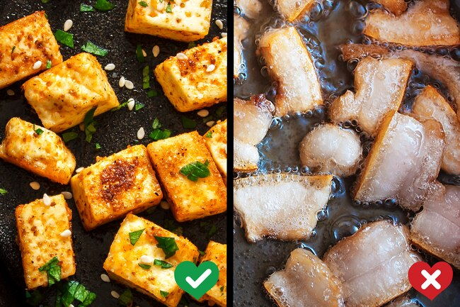 photo of tofu and fat frying seperate